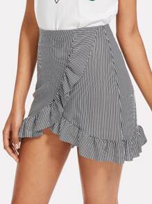 Striped Ruffle Hem Overlap Skirt