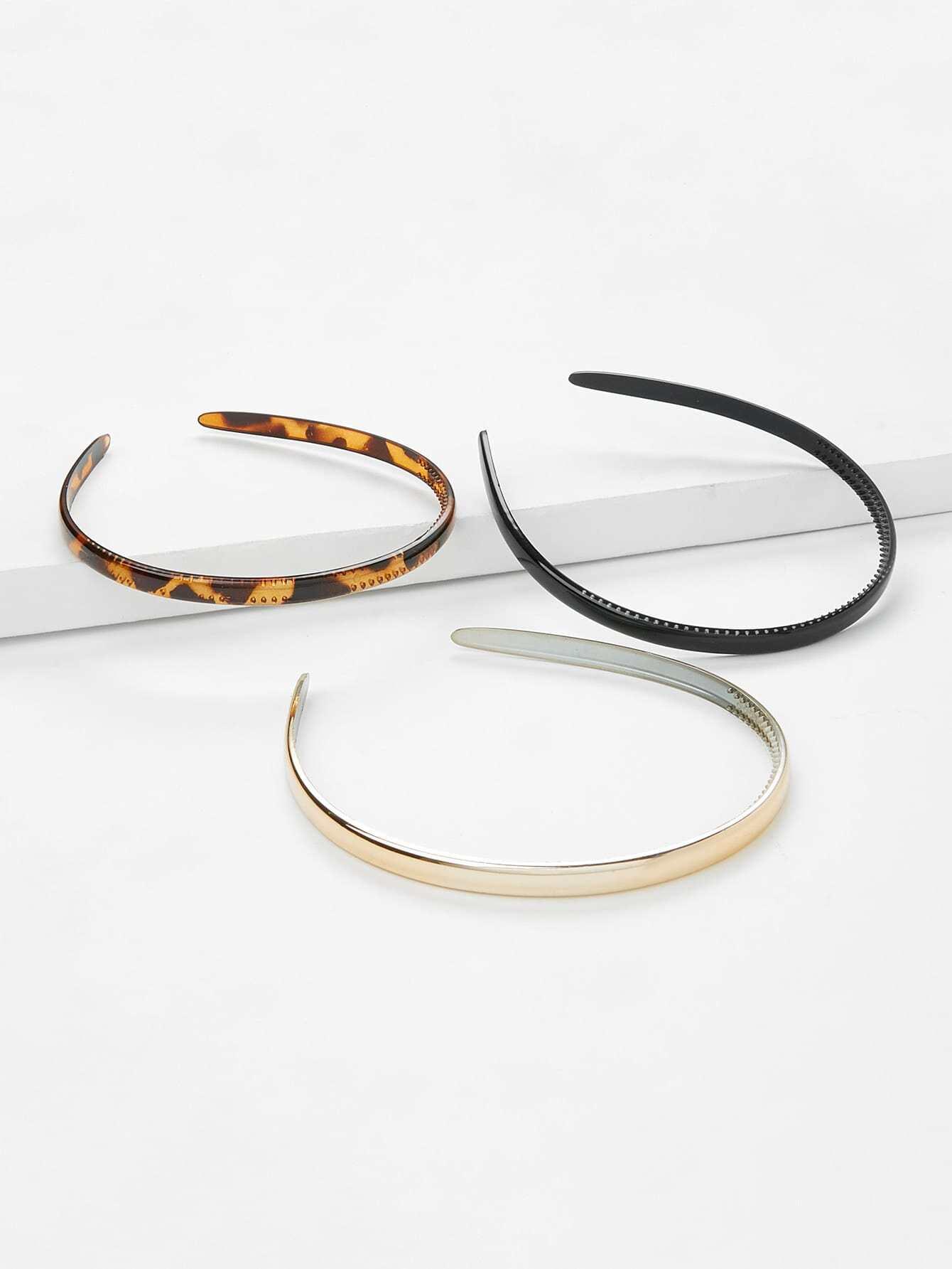 Leopard & Plain Design Headband 3Pcs plain headband 3pcs