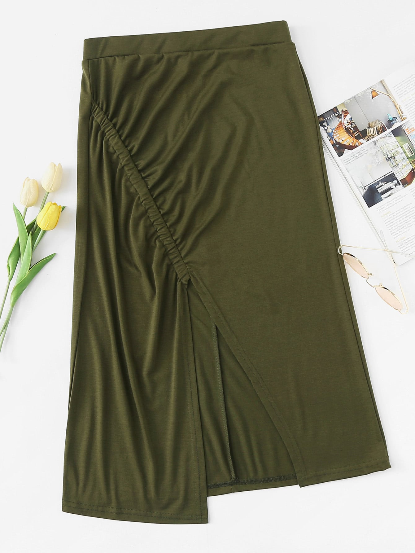 Split And Ruched Front Skirt split front wales check skirt