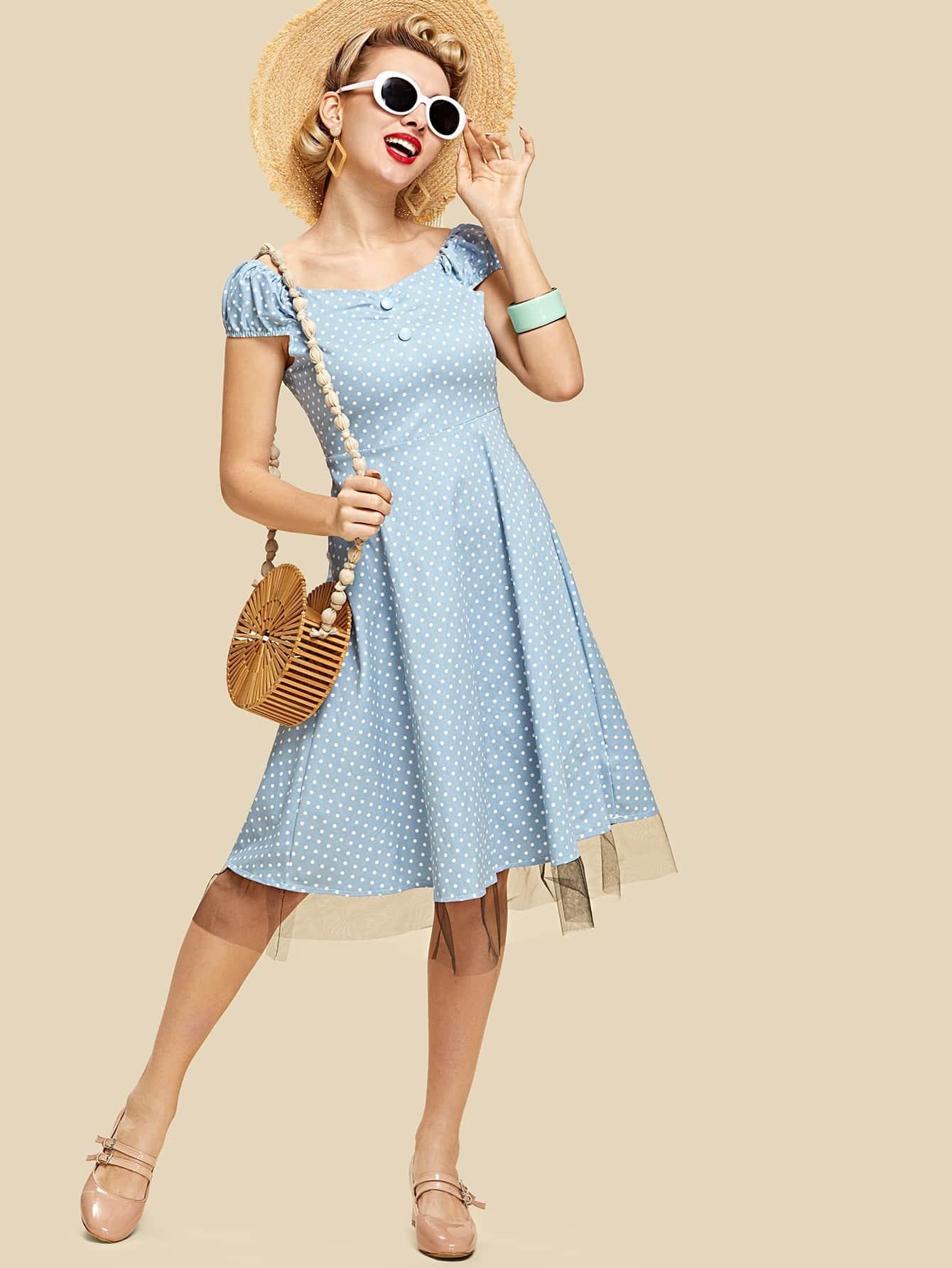 Contrast Lace Hem Button Detail Dress contrast pu grommet detail dress with necklace