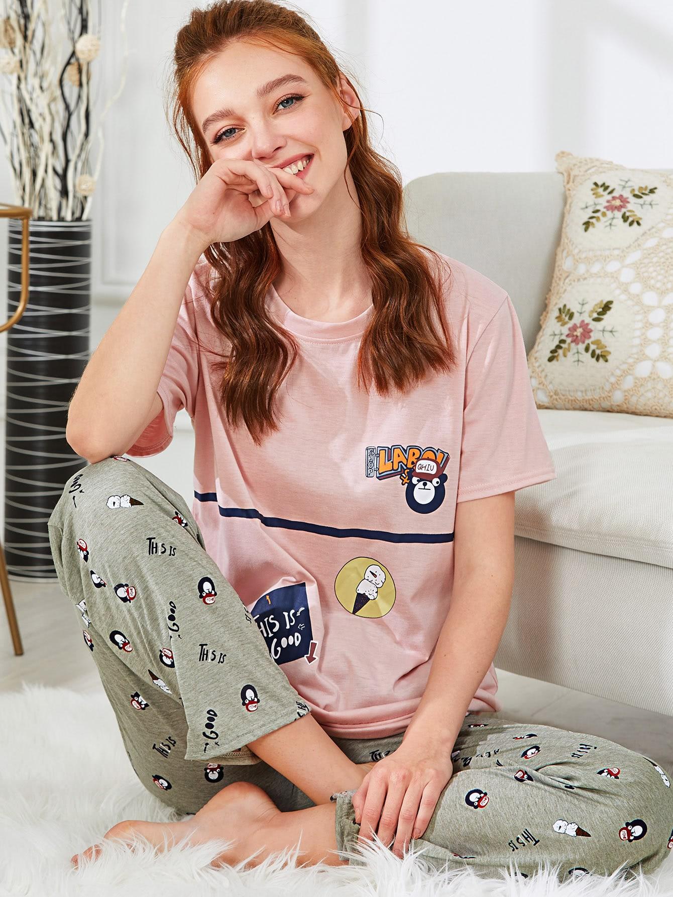 Купить Тройник и брюки для печати мультфильмов PJ Set, Poly, SheIn