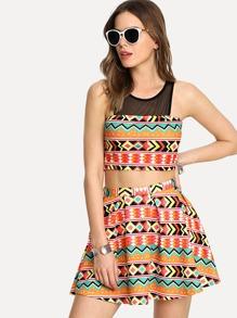 Mesh Shoulder Geo Top & Skirt Set