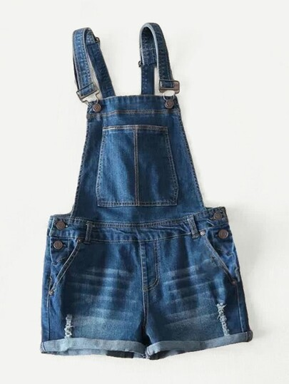 Cuffed Ripped Denim Overalls