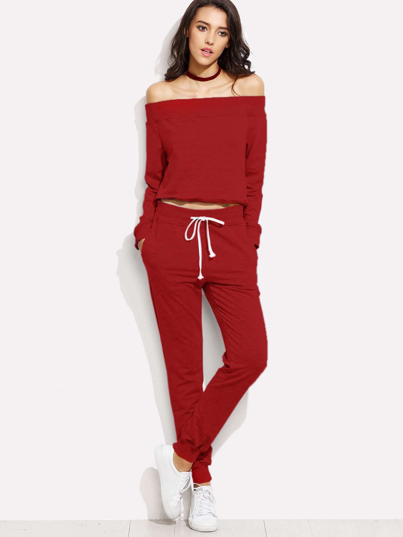 Bardot Neckline Top With Drawstring Pants