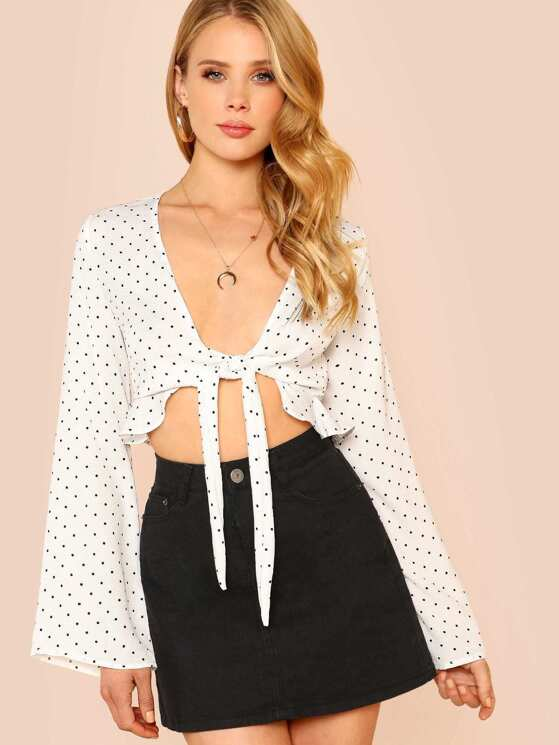 8f9416235d4 Long Sleeve Polka Dot Tie Front Crop Top WHITE | MakeMeChic.COM