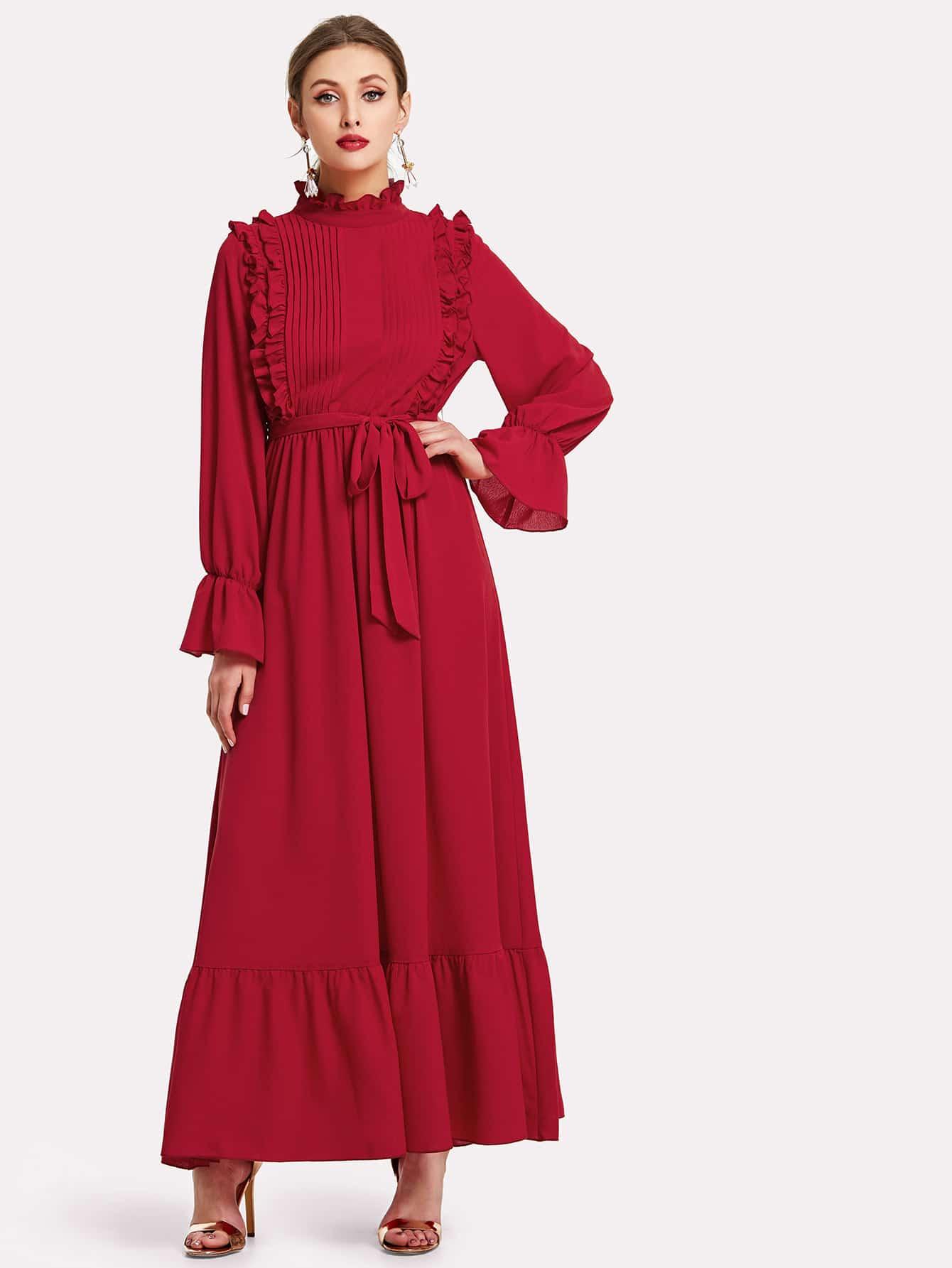 Фриллинг Trim Flounce Sleeve Ruffle Hem Maxi Dress