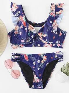 Floral Print Ruffle Trim Knot Back Bikini Set