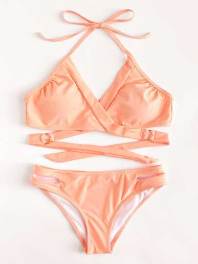 Cut Out Wrap Bikini Set