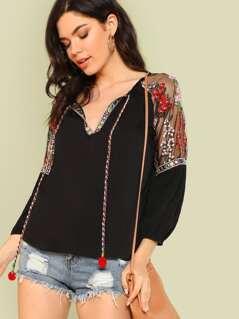 Embellished Trim Top with Flower Embroidered Mesh Shoulder BLACK