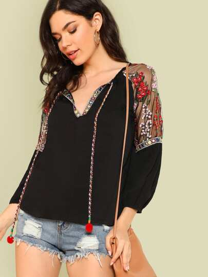 Embellished Trim Top with Flower Embroidered Mesh Shoulder BLACK