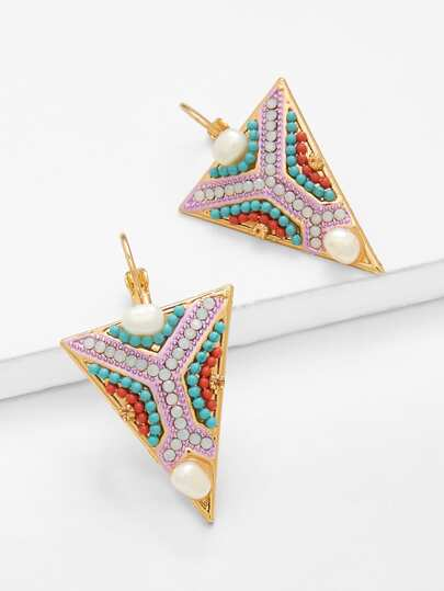 Gemstone Decorated Triangle Drop Earrings