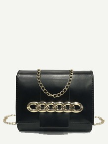 Ring Decor PU Chain Bag