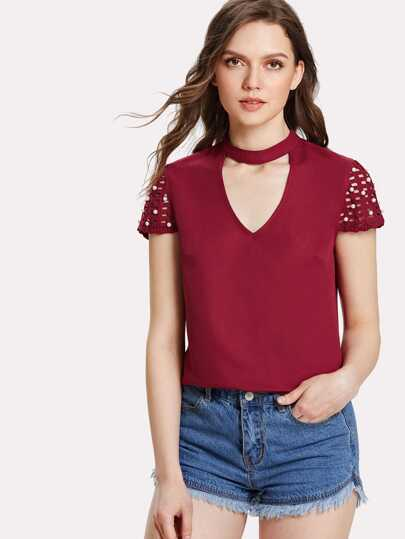 Pearl Detail Cut Out Sleeve Choker Neck Top