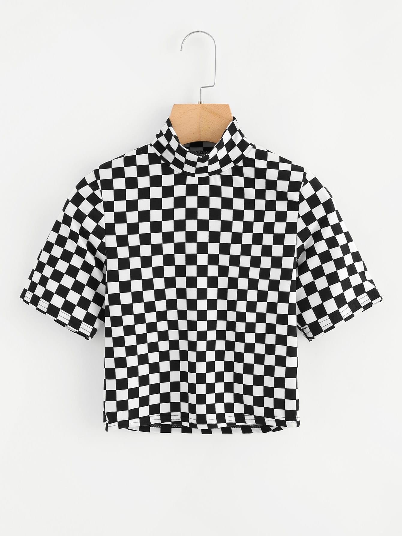 Plaid Crop T-Shirt mit hohem Ausschnitt