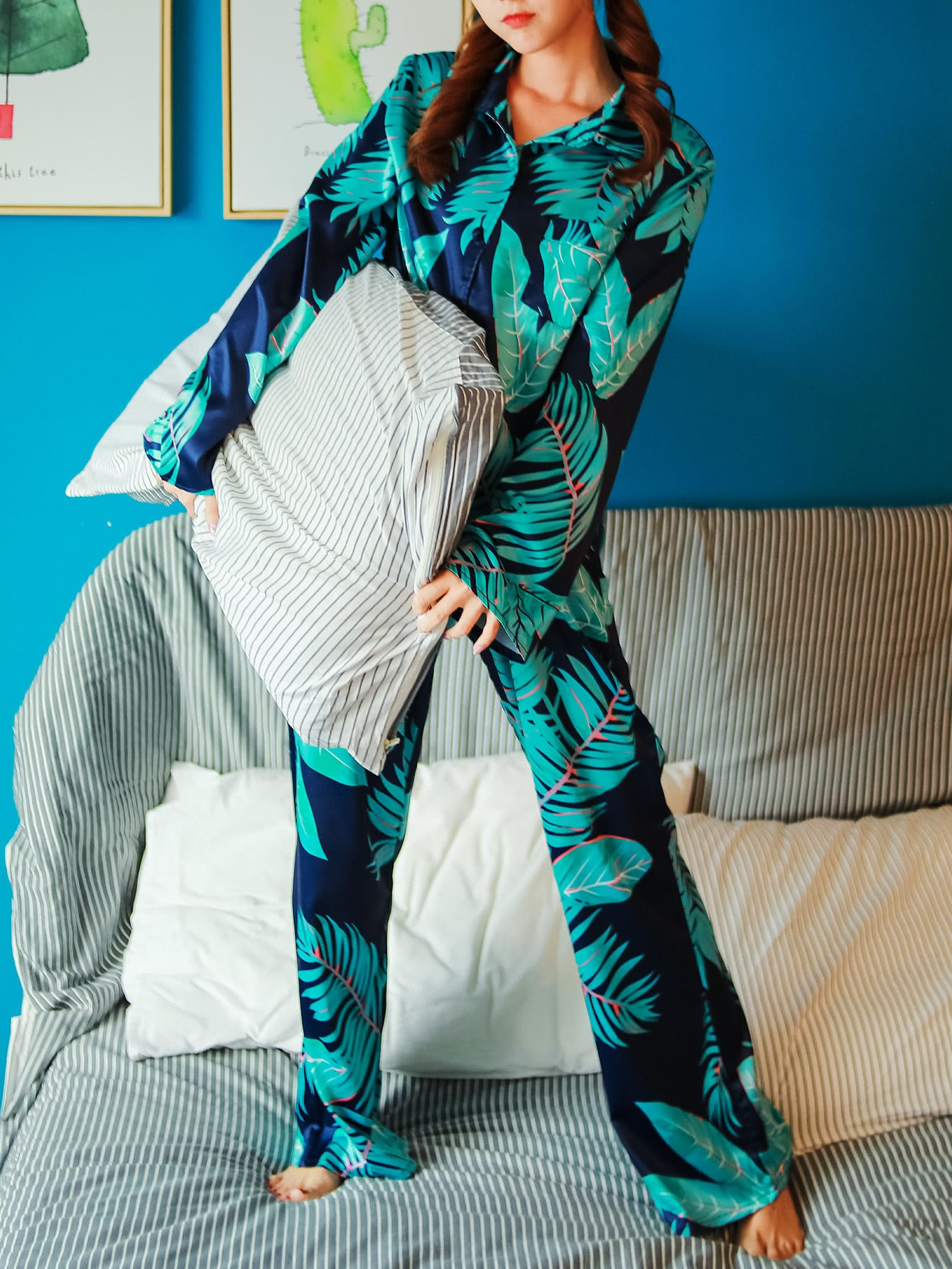 Palm Print Shirt & Pants Pajama Set