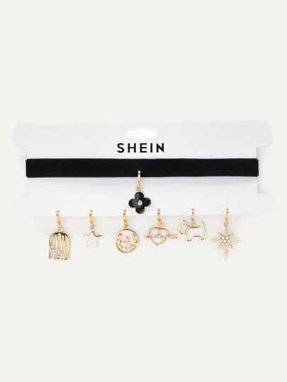 Wide Choker With 7pcs Replaceable Charm