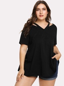 Cutout Neck Solid T-shirt