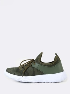 Camo Print Slip Lace Up Sneakers GREEN