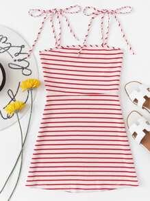 Striped Knot Shoulder Knit Cami Dress