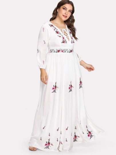 Lace Up Front Flower Embroidered Maxi Dress