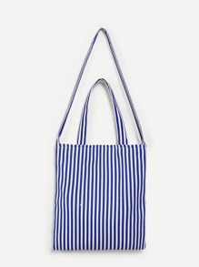 Stripes Tote Bag With Convertible Strap