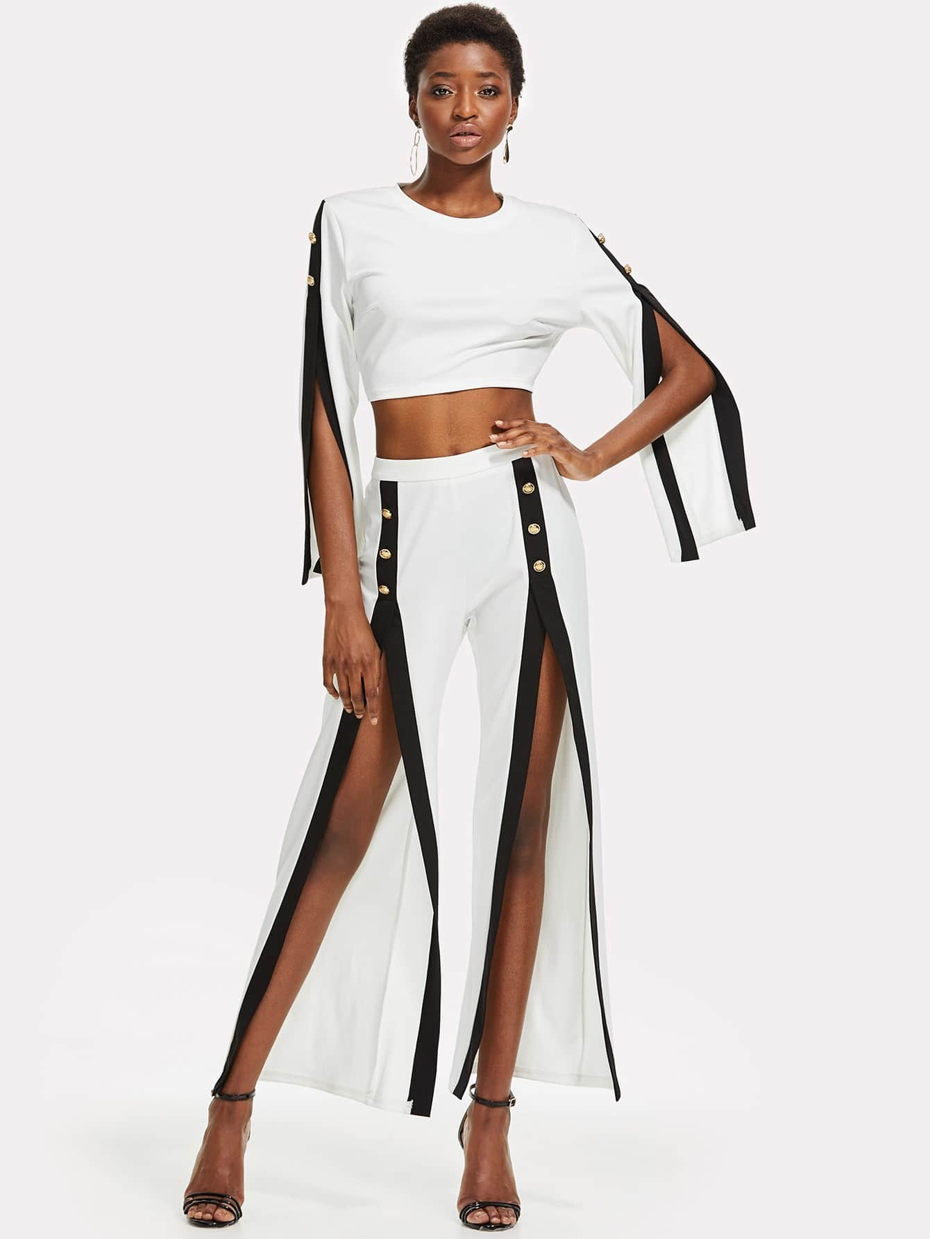 Contrast Trim Split Sleeve Top With Pants