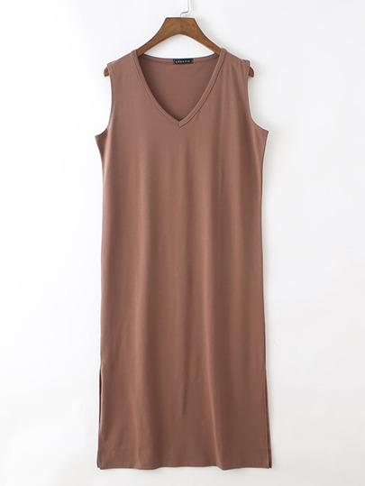 Split Side Solid Nightdress
