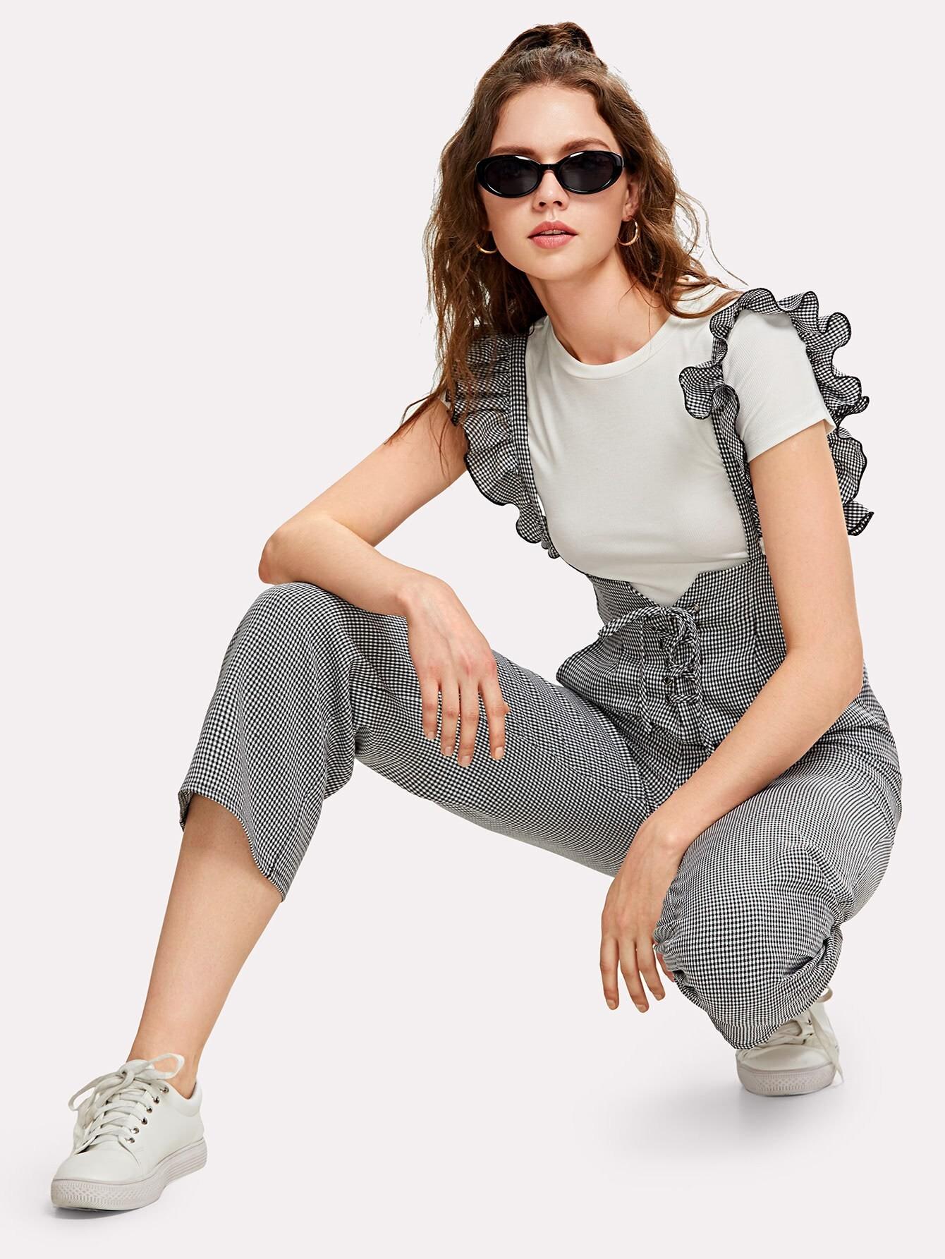 Купить Модные клетчатые брюки со шнуровкой и лямкой, Muffy, SheIn