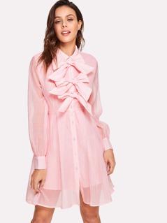 Bow Embellished Placket Shirt Dress