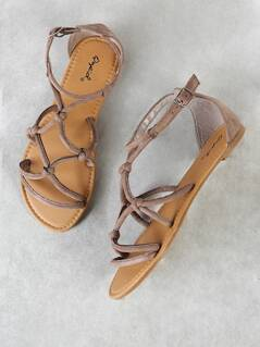 Faux Suede Strappy Caged Flat Sandal TAUPE