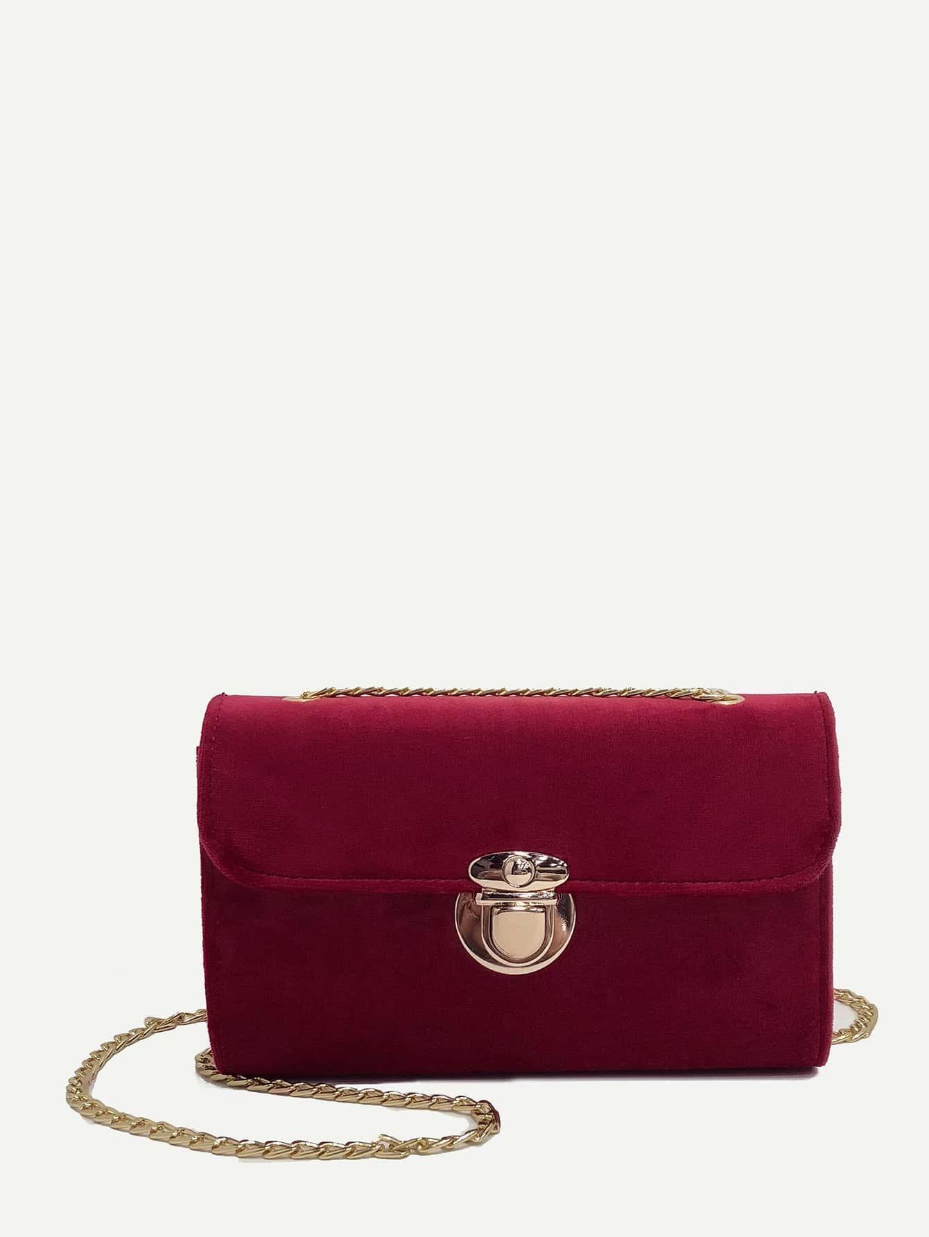 Push Lock Suede Chain Shoulder Bag