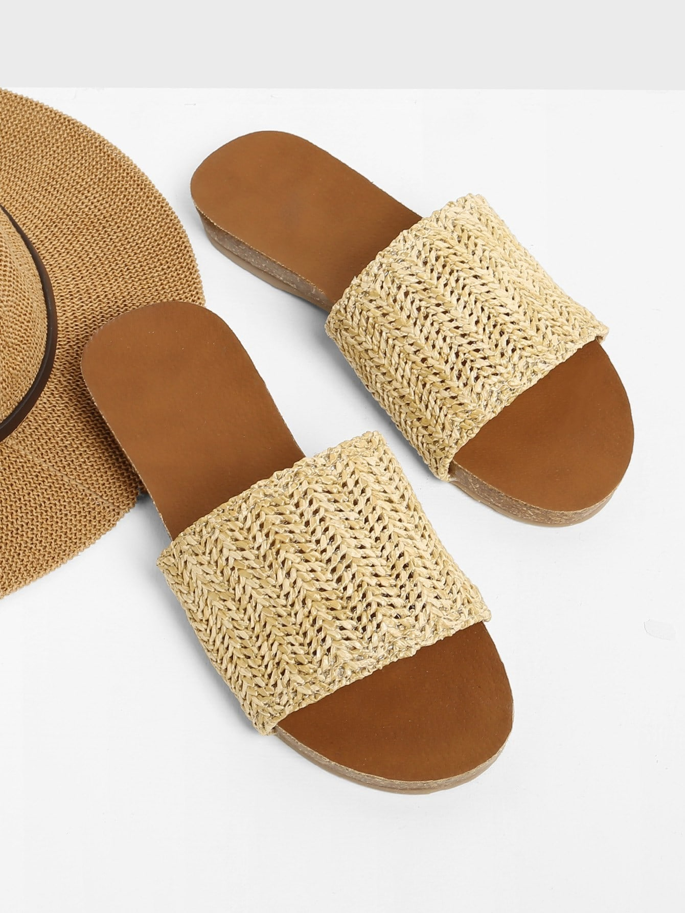 Woven Flat Slide Sandals woven design straw flat sandals