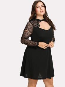 Eyelash Lace Panel Dress