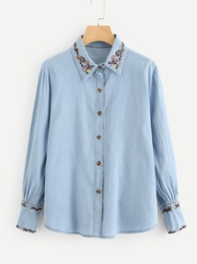 Botanical Embroidered Denim Shirt
