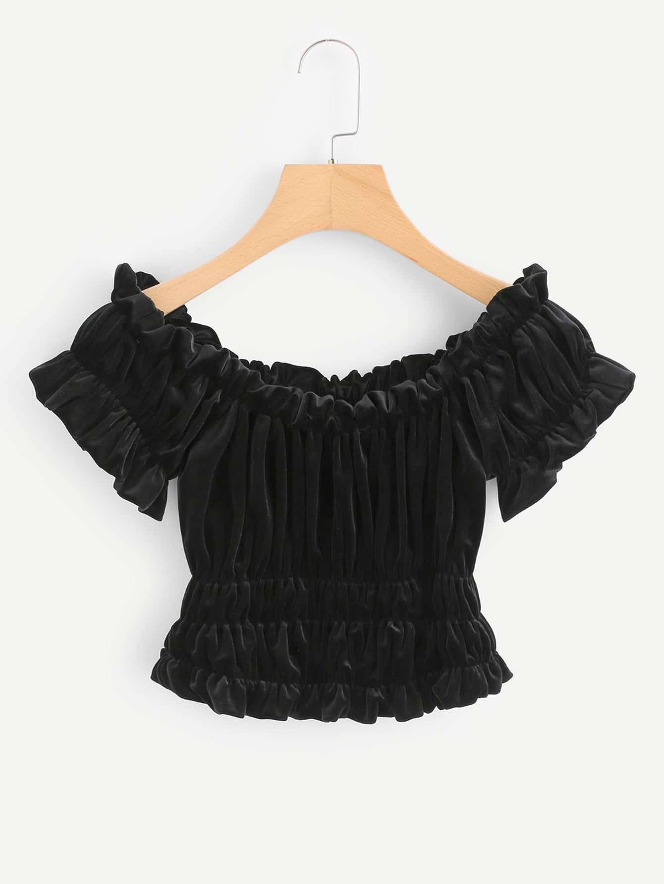 Off Shoulder Frill Trim Crop Velvet Top scallop trim one shoulder crop top