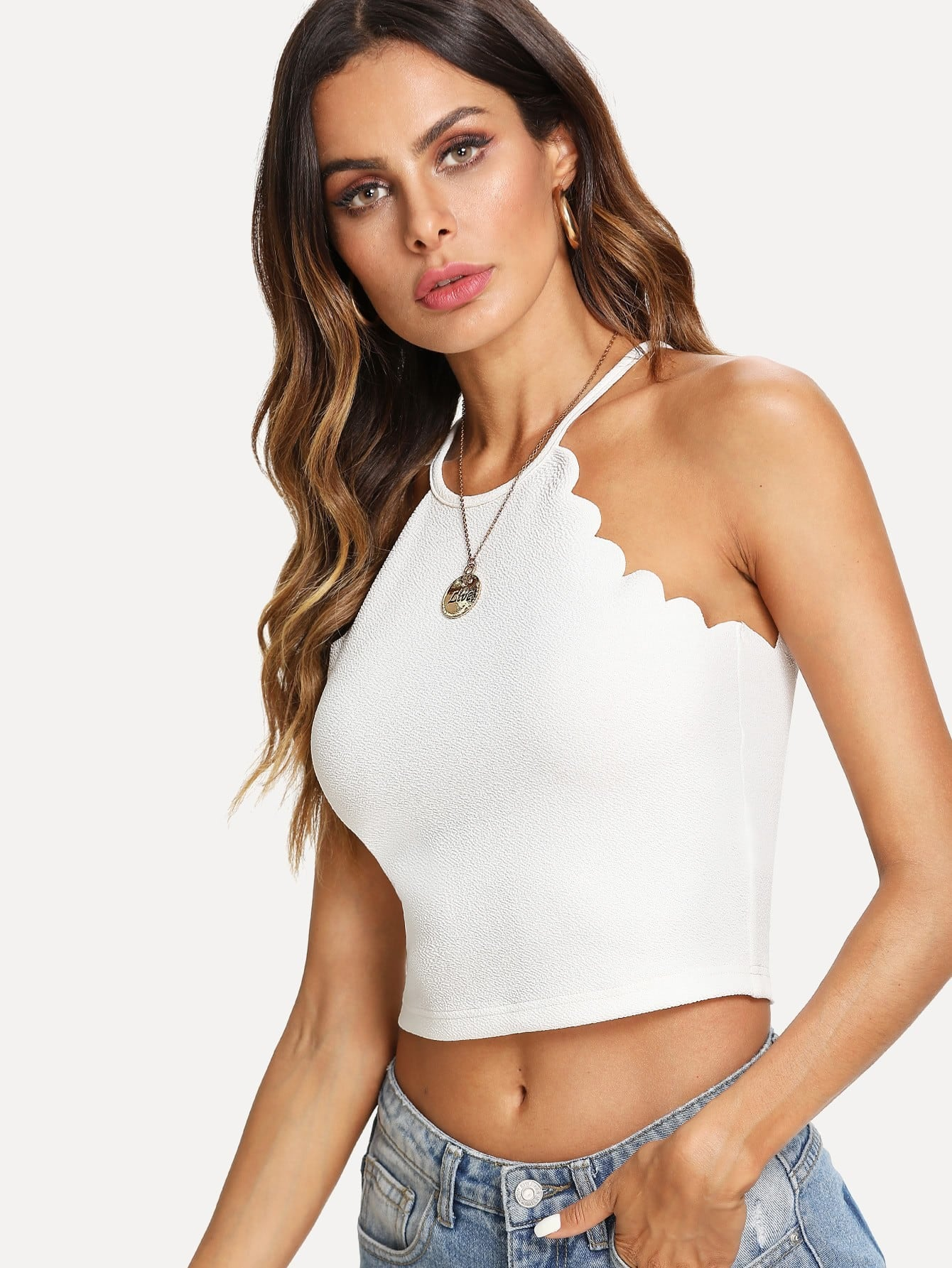 Scallop Trim Halter Top scallop edge halter top