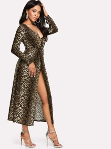 Leopard Print Surplice Wrap Dress