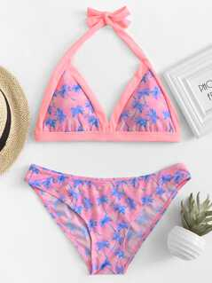 Palm Tree Print Halter Top Bikini Set