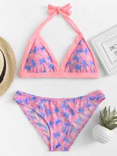 Palm Tree Print Halter Top Bikini Set