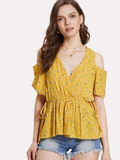 Cold Shoulder Knot Side Ditsy Floral Smock Top
