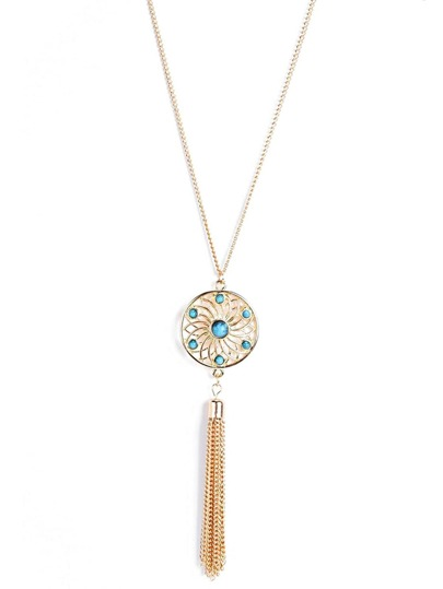 Round & Tassel Pendant Chain Necklace