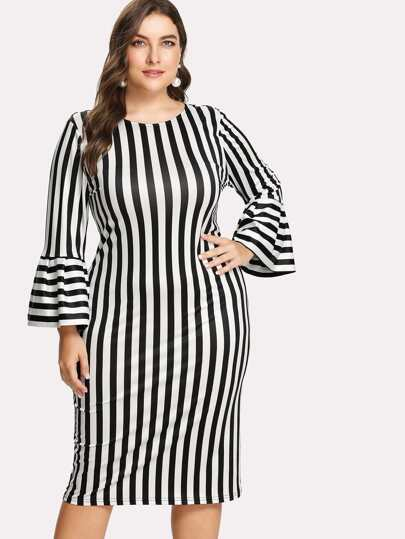 Vertical Striped Flounce Sleeve Dress