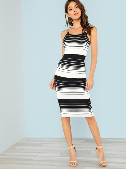 Striped Ribbed Knit Form Fitting Dress BLACK WHITE