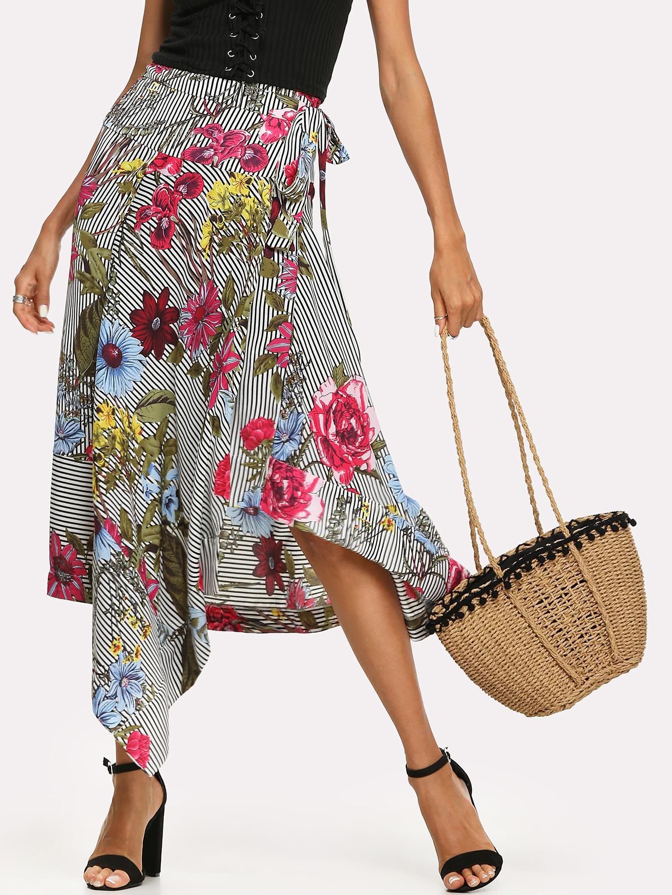 Flower Print Asymmetrical Tie Waist Skirt flower print tie waist shirt dress