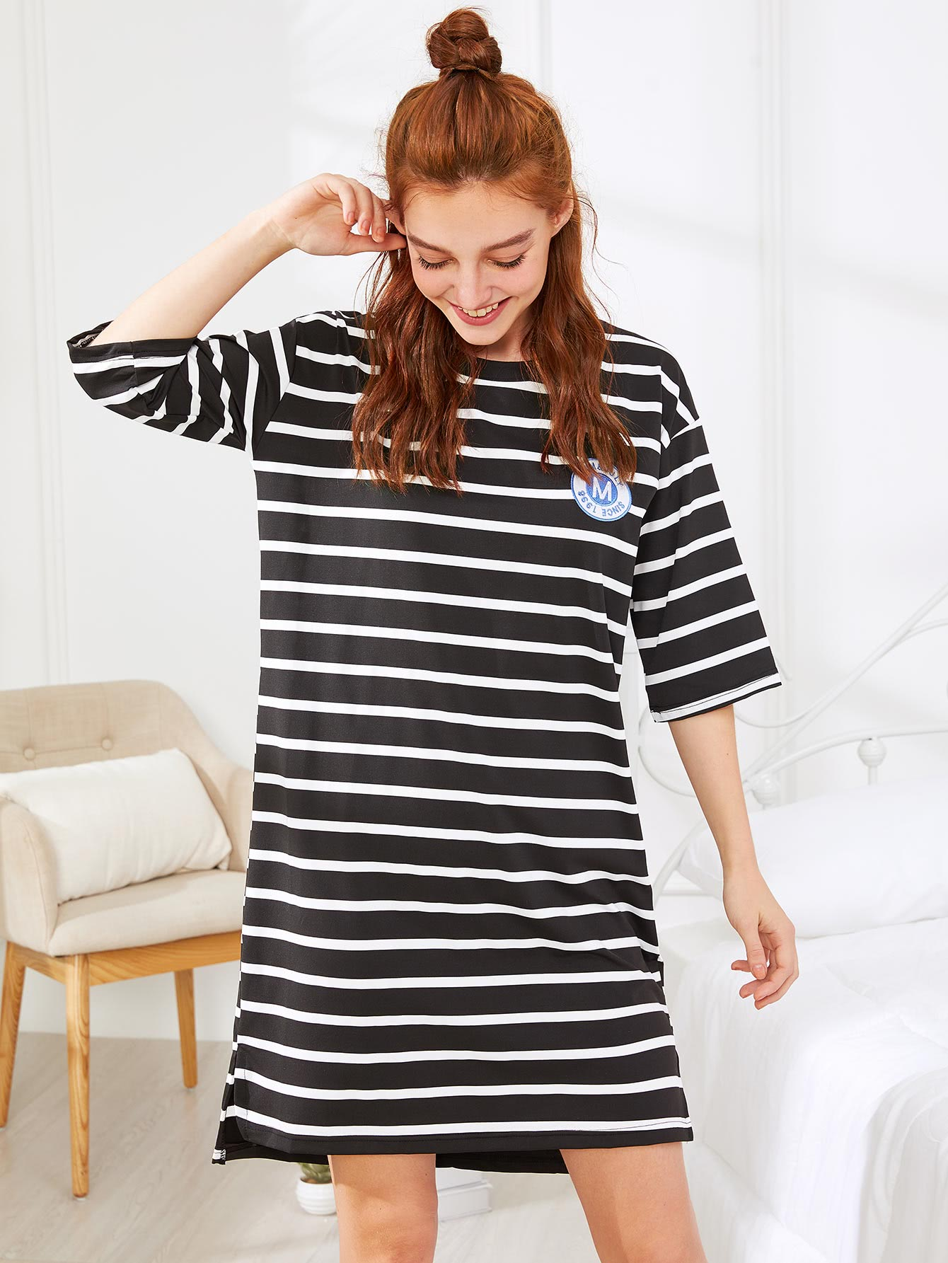 Drop Shoulder Striped Dress two tone drop shoulder sweatshirt