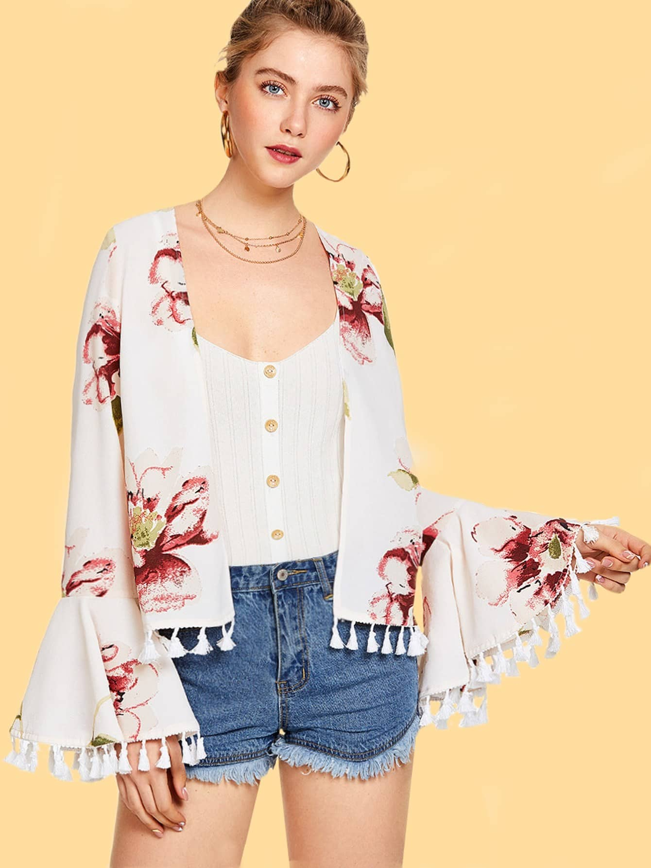 Tassel Trim Flounce Sleeve Floral Kimono drop shoulder flounce trim sleeve sweatshirt