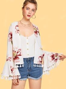 Tassel Trim Flounce Sleeve Floral Kimono