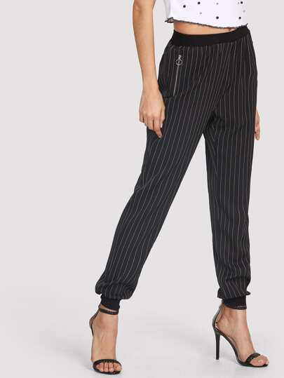 O-Ring Zip Detail Pinstripe Peg Pants
