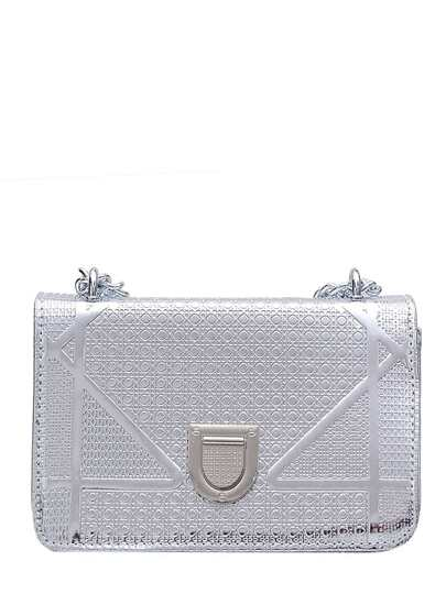 Embossed Textured Pushlock Chain Bag
