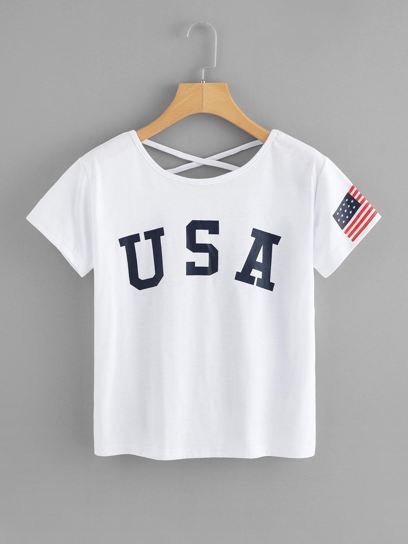 T-Shirt mit amerikanischem Flaggemuster und Kreuz hinten